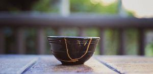 kintsugi bowl on table